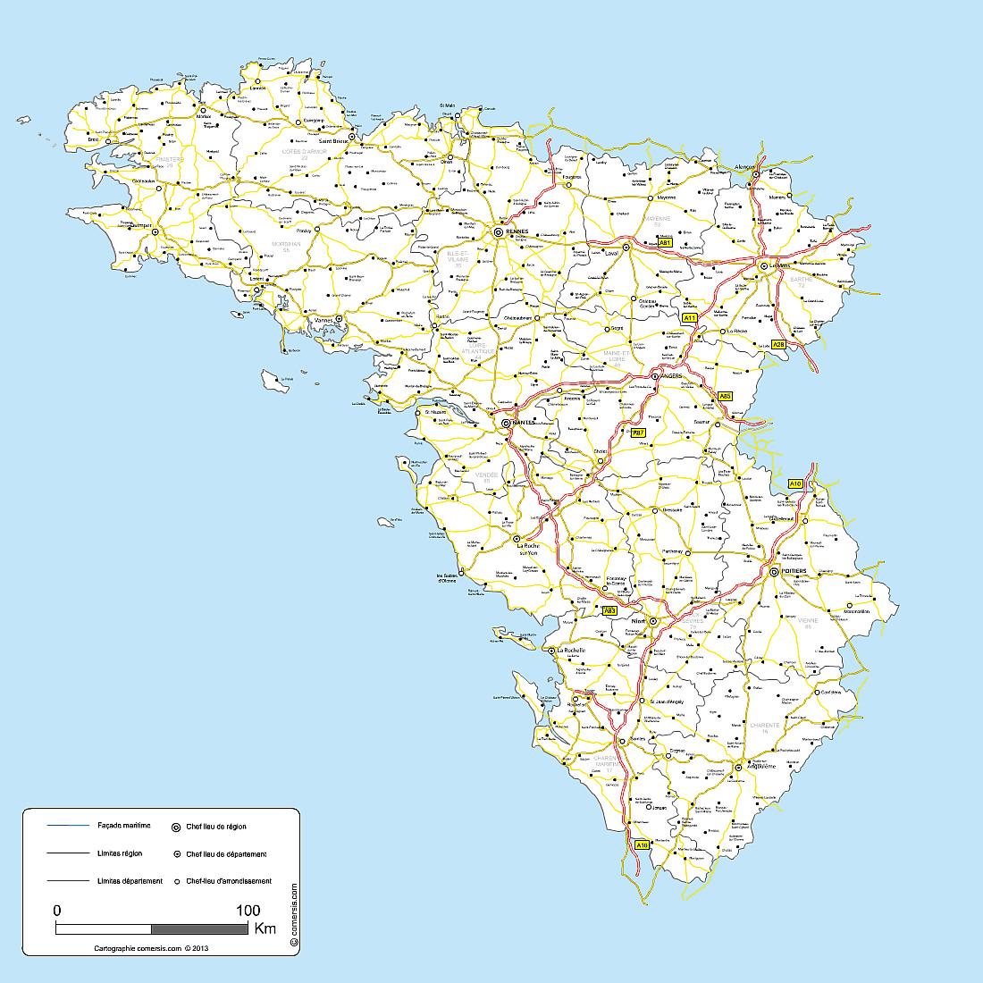 carte des routes de l'ouest