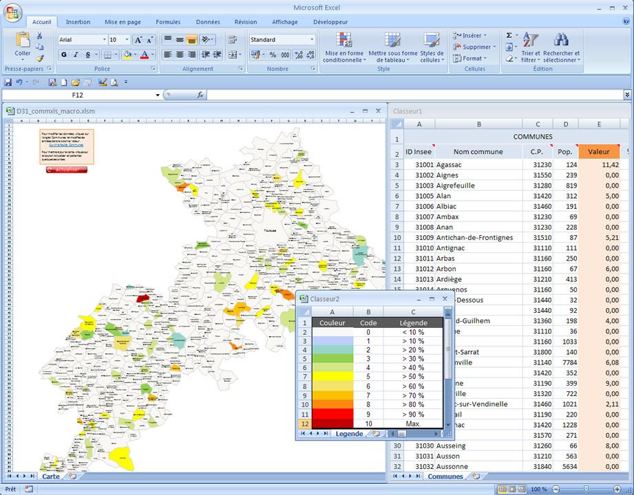 carte Excel data des communes de la Haute-Garonne