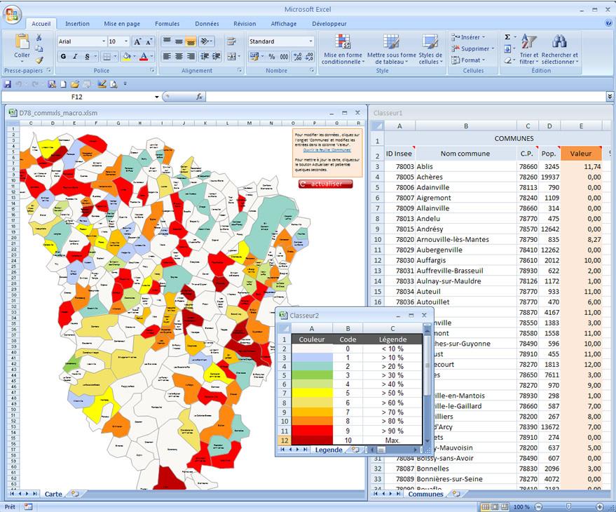 Carte excel interactive des villes et communes des yvelines for Villes des yvelines