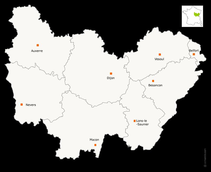 Redécoupage région Bourgogne et Franche-Comté