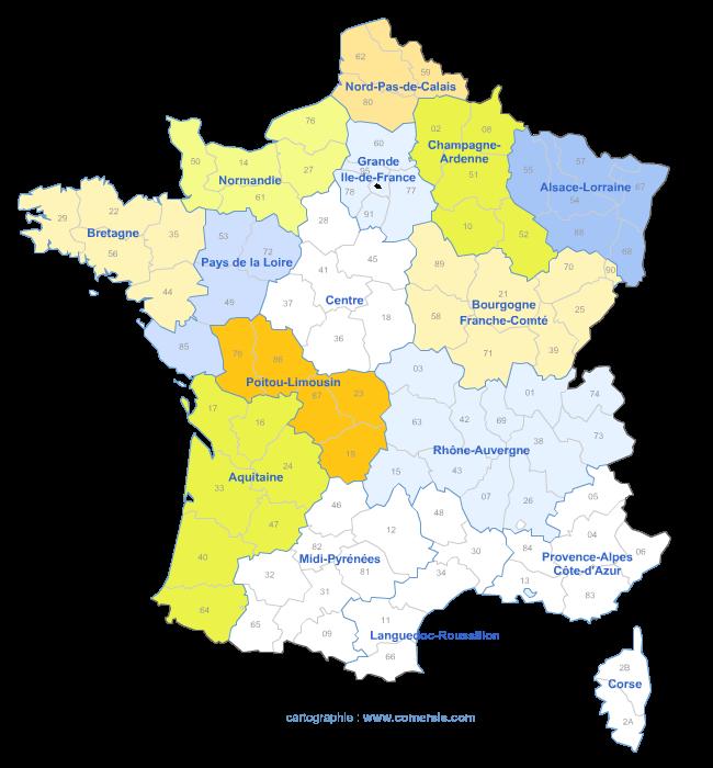 carte de la réforme territoriale à 16 régions