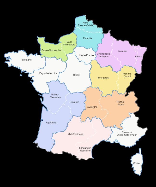 carte des 13 nouvelles régions de France