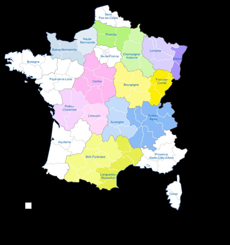 carte des nouvelles régions de France