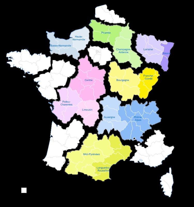 Carte éclatée des nouvelles régions