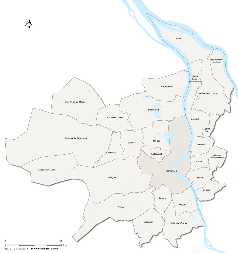 Carte de la métropole de Bordeaux