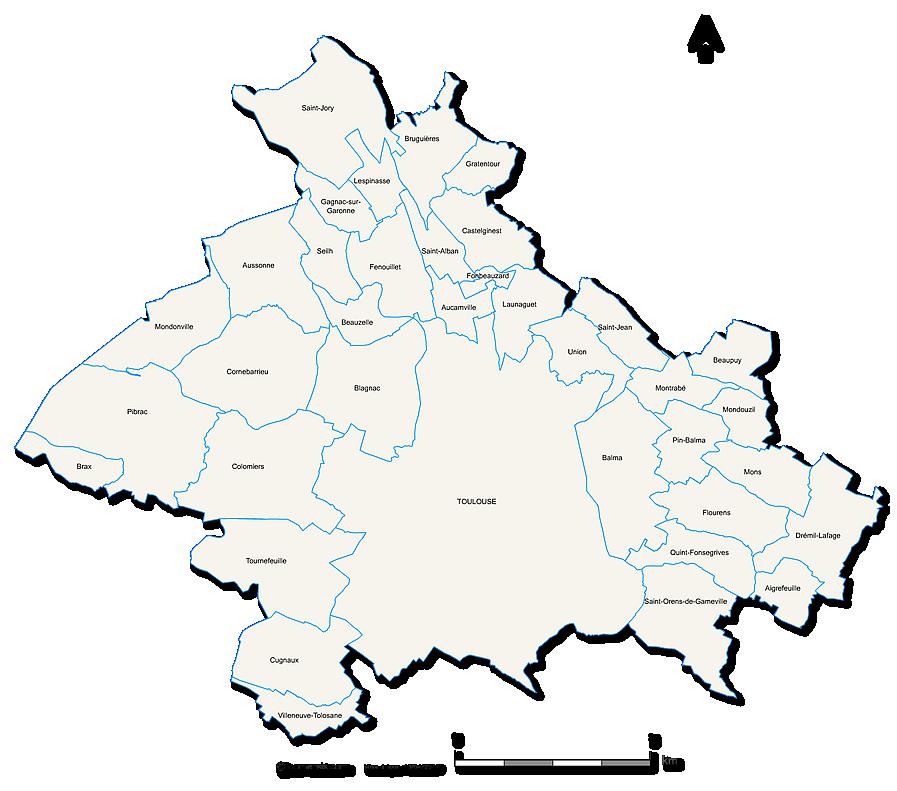 Carte de la métropole de Toulouse