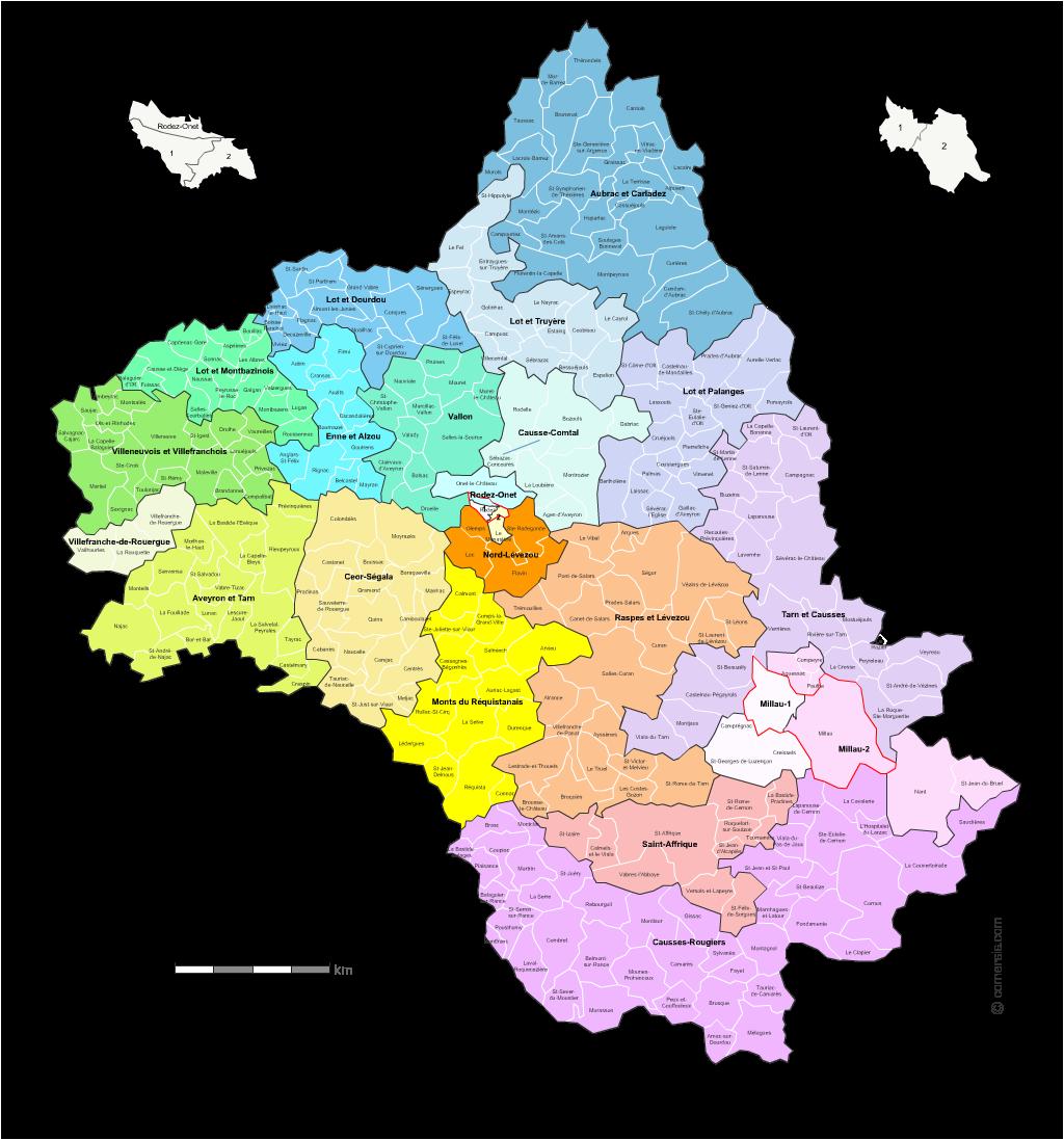 carte des cantons de l' Aveyron