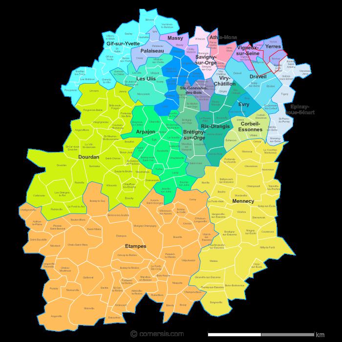 carte des nouveaux cantons de l' Essonne