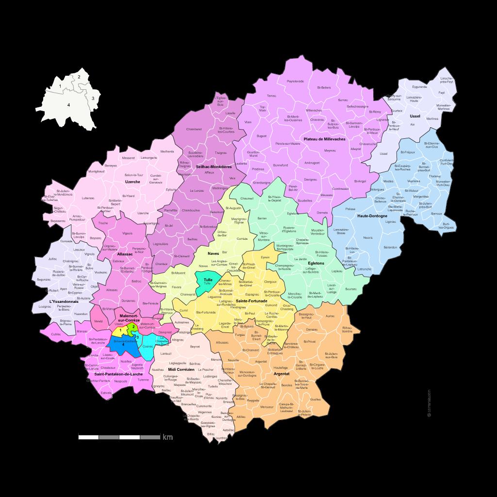Carte des nouveaux cantons de la corr ze avec villes et for Code postal correze