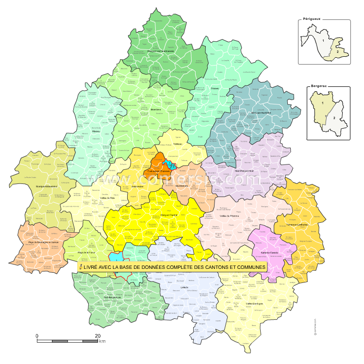 carte des nouveaux cantons de la  Dordogne