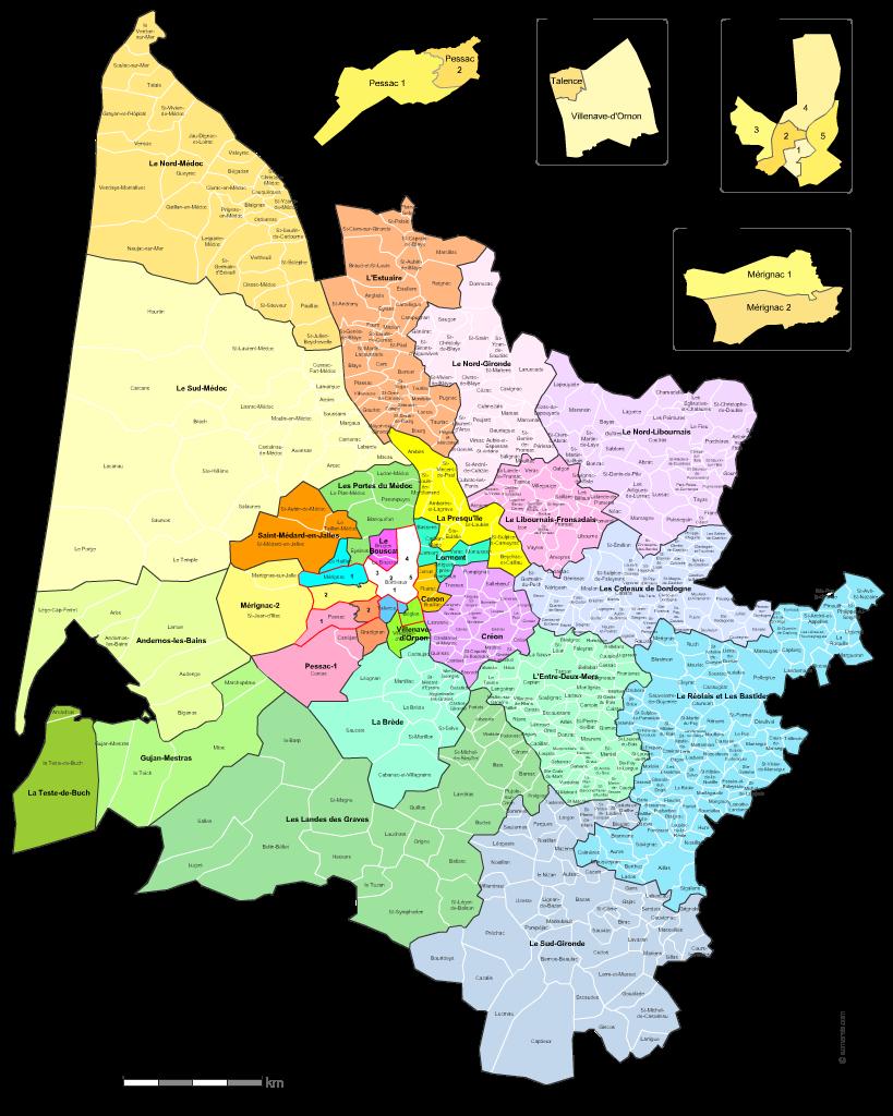carte des nouveaux cantons de la  Gironde