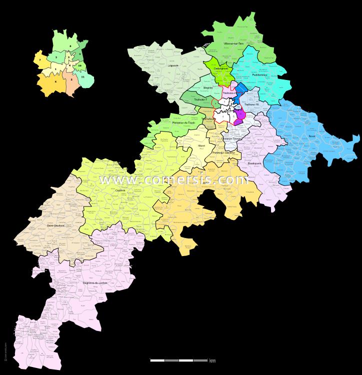 carte des nouveaux cantons de la  Haute-Garonne