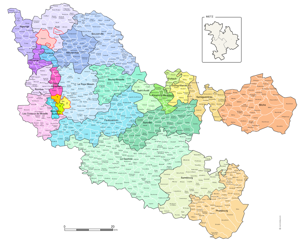 carte des nouveaux cantons de la  Moselle