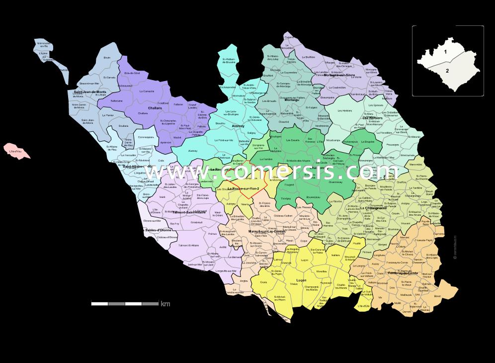 carte des nouveaux cantons de la  Vend�e