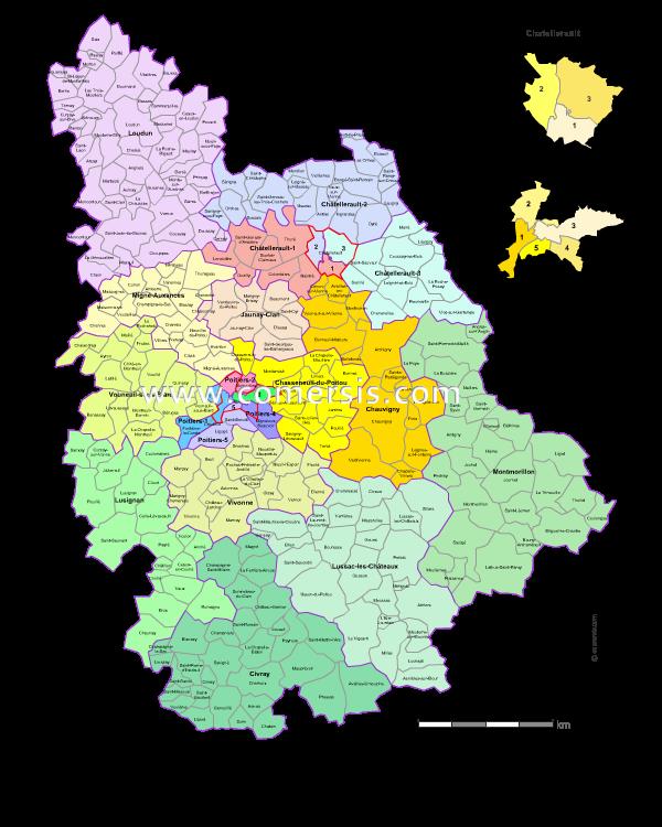 carte des nouveaux cantons de la  Vienne