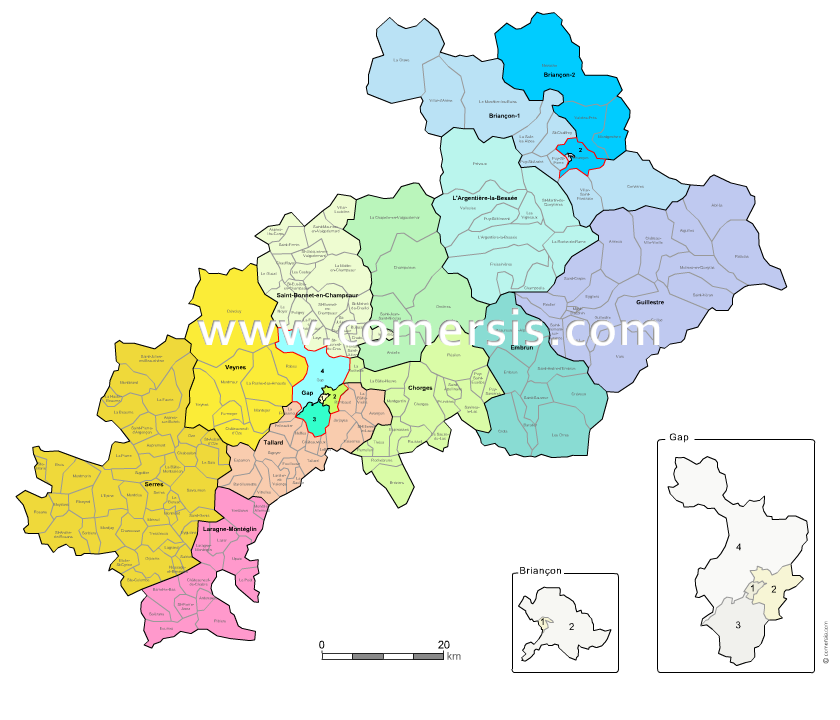 carte des nouveaux cantons des  Hautes-Alpes