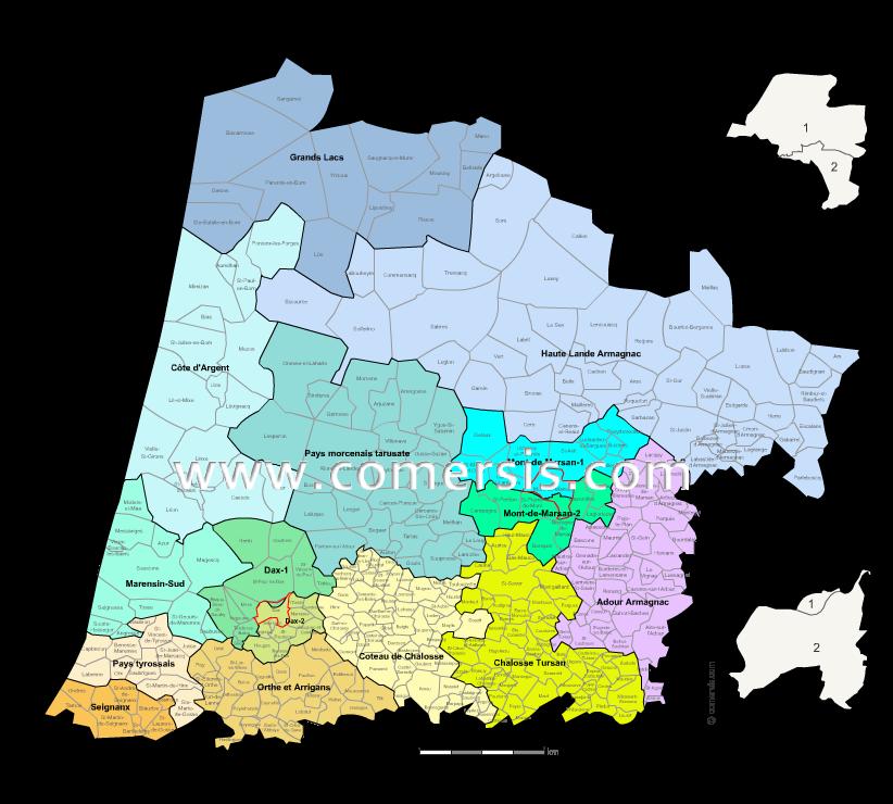 carte des nouveaux cantons des  Landes