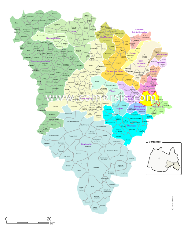 Carte des nouveaux cantons des yvelines avec villes et for Carte touristique yvelines