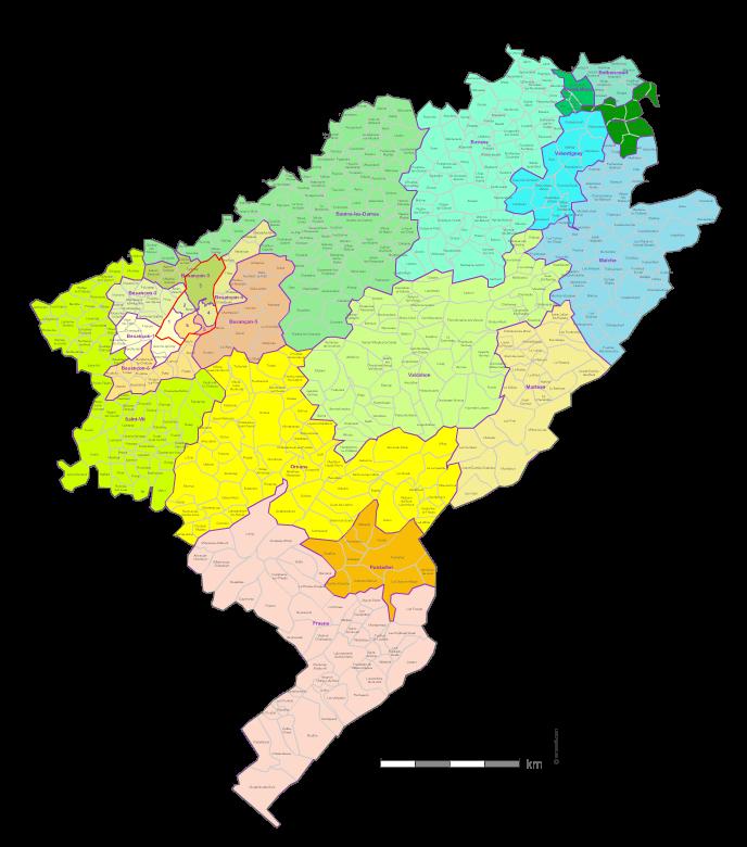 carte des cantons du  Doubs