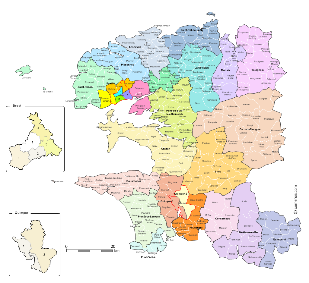 carte des cantons du  Finist�re