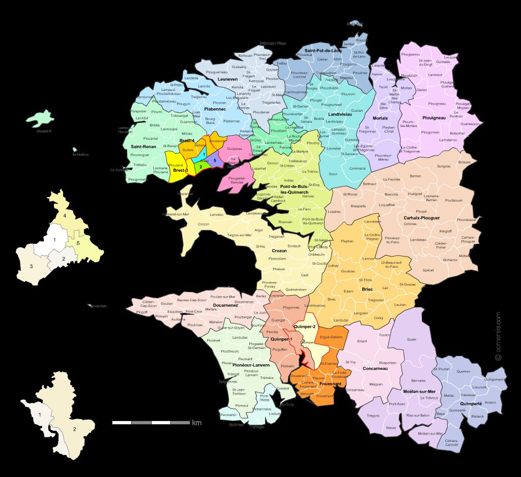 carte des nouveaux cantons du  Finist�re