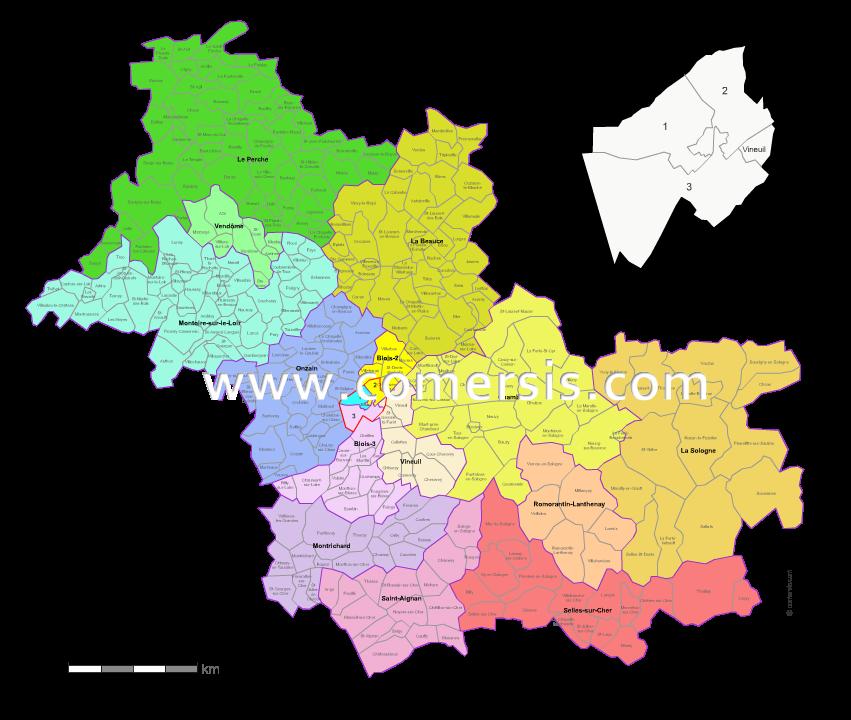 Carte des nouveaux cantons du loir et cher avec villes et communes - Www cuisine en loir et cher fr ...
