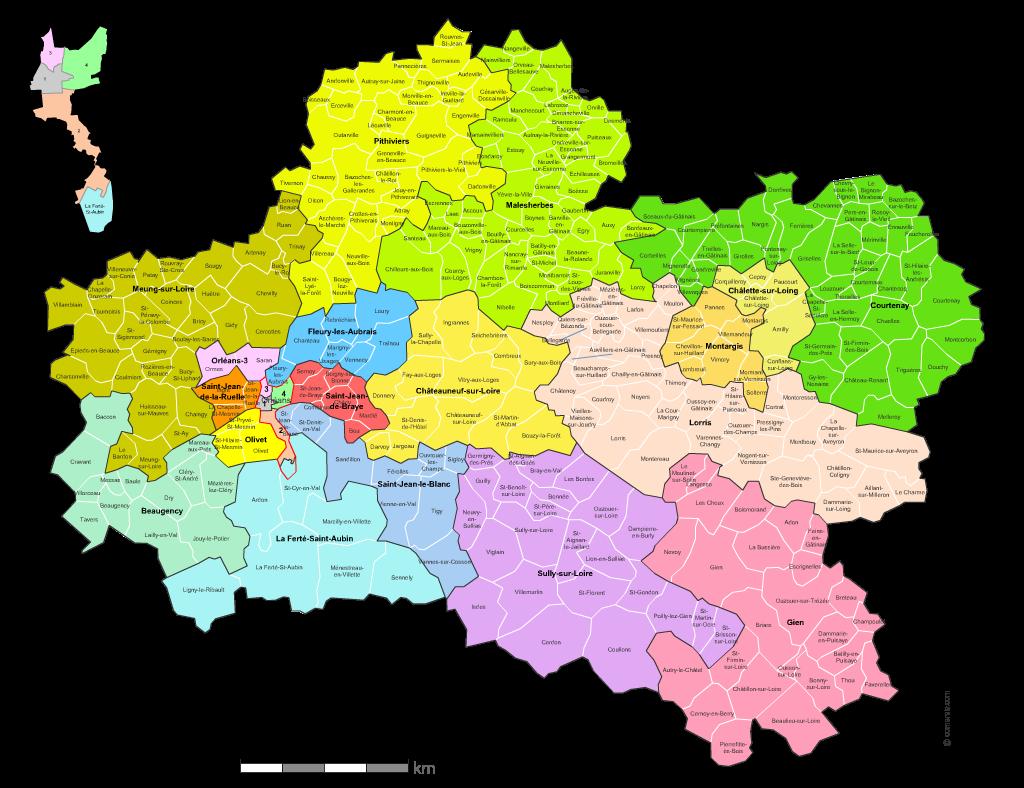 carte des nouveaux cantons du  Loiret