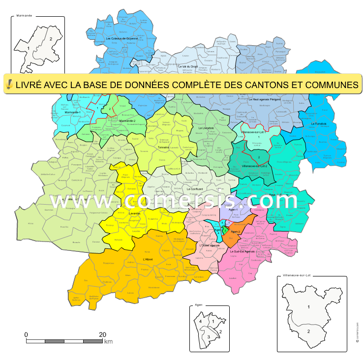 carte des nouveaux cantons du  Lot-et-Garonne