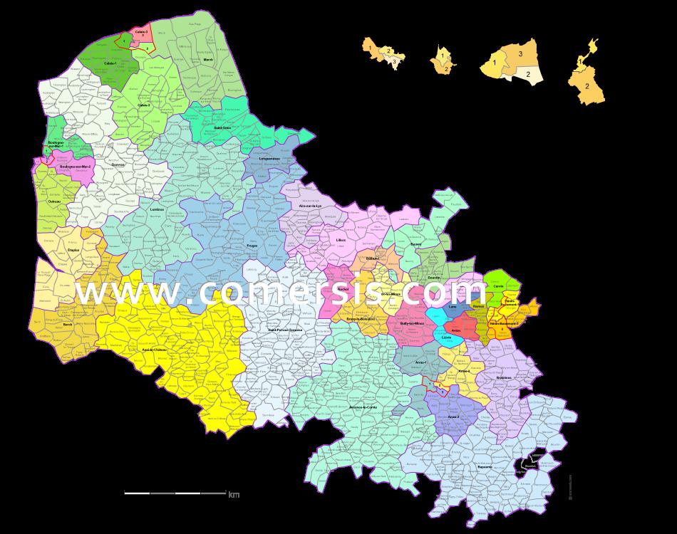 carte des nouveaux cantons du  Pas-de-Calais