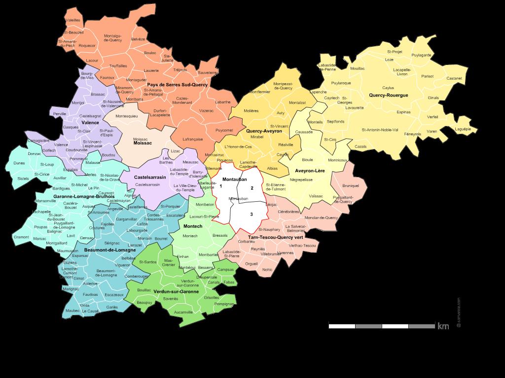 carte des nouveaux cantons du  Tarn-et-Garonne