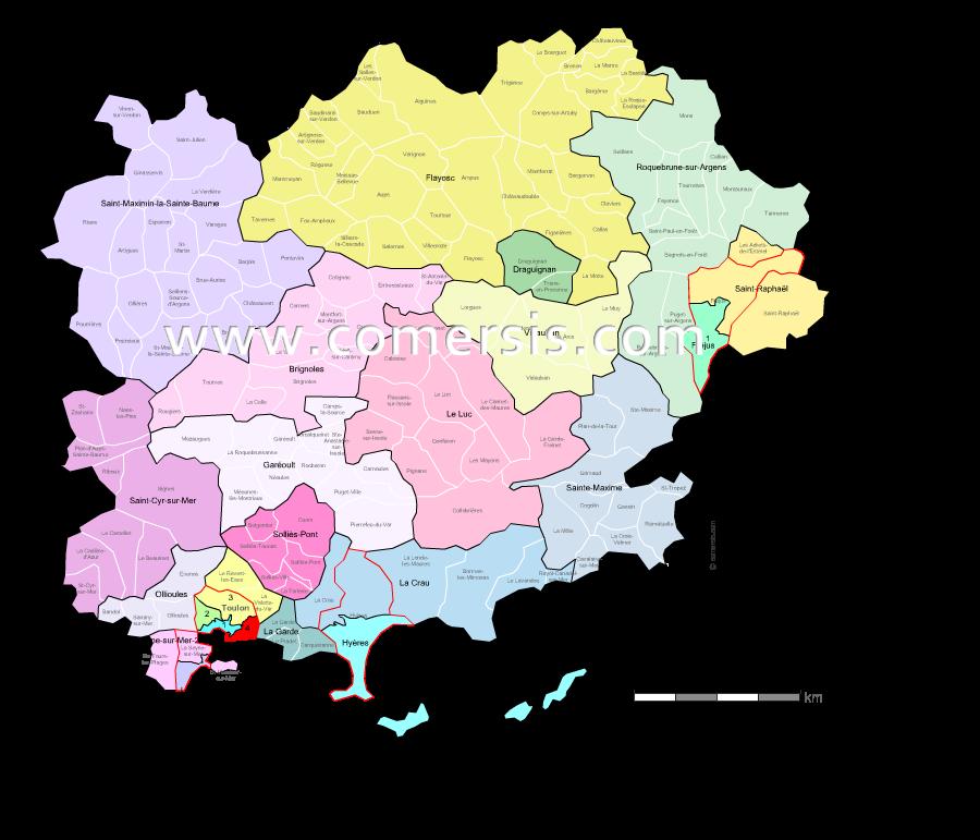 Carte des nouveaux cantons du Var avec villes et communes