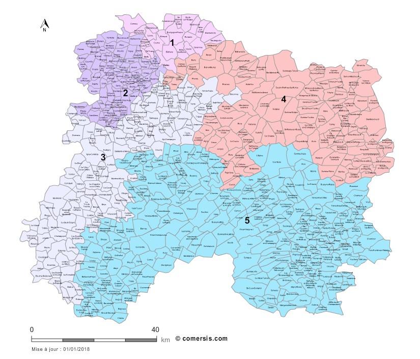 Carte des circonscriptions de la Marne