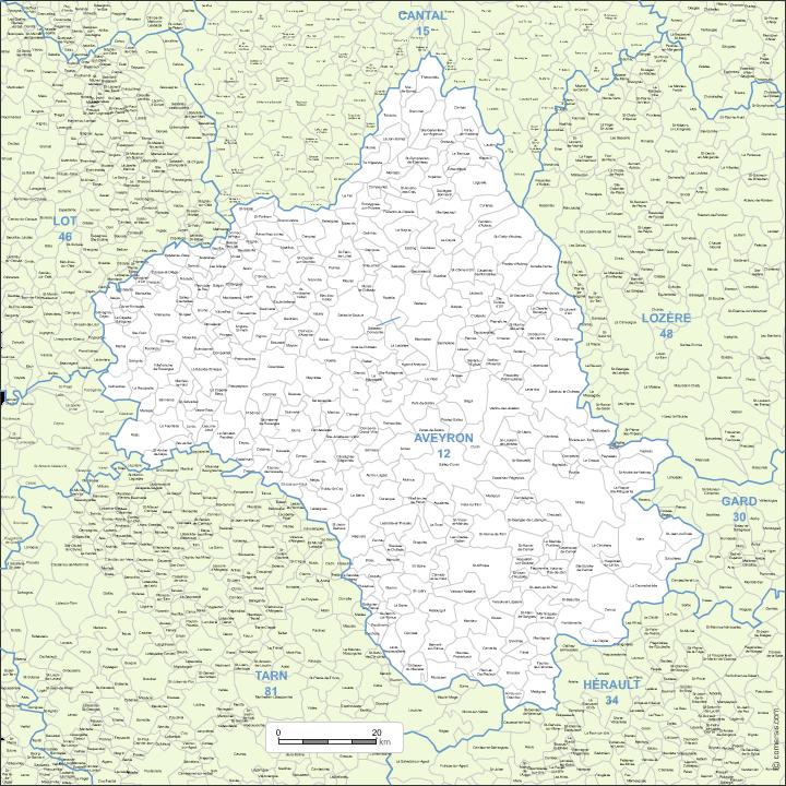 carte modifiable des communes de l'Aveyron