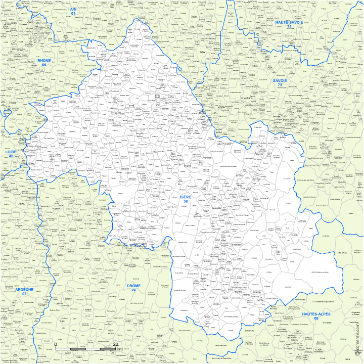 carte modifiable des communes de l'Is�re