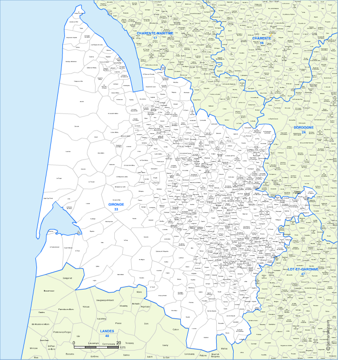 carte modifiable des communes de la Gironde