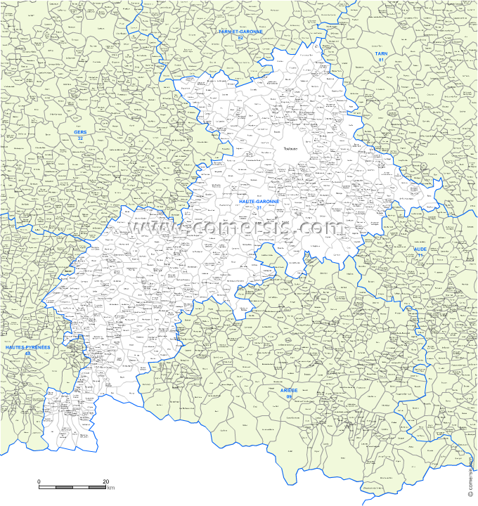 carte modifiable des communes de la Haute-Garonne