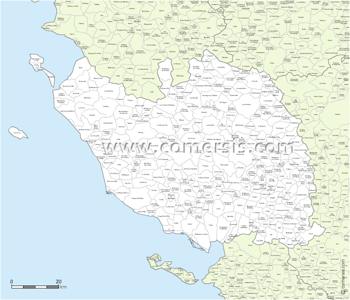carte modifiable des communes de la Vend�e