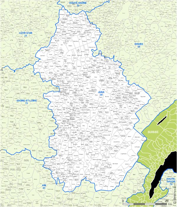 Carte des villes et communes limitrophes du Jura