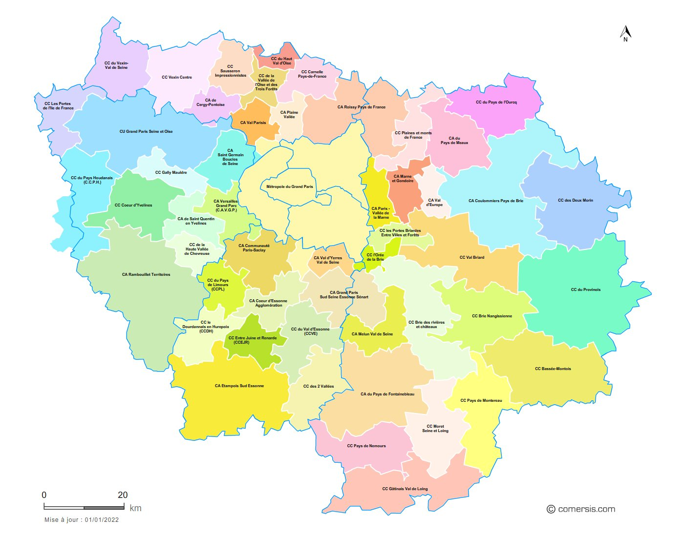 Carte des intercommunalit s d 39 le de france - Schema de l ile de france ...
