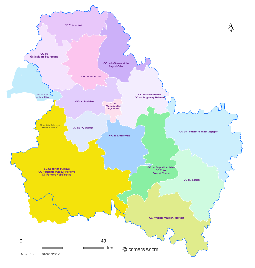 Carte des intercommunalit s de l 39 yonne for Region yonne