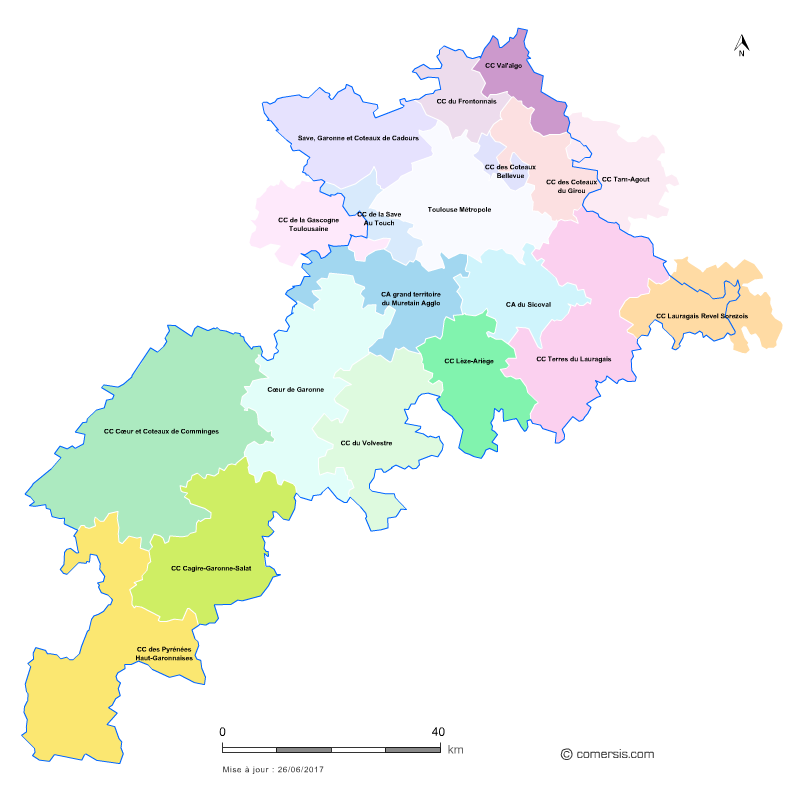 Carte des intercommunalités de la Haute-Garonne
