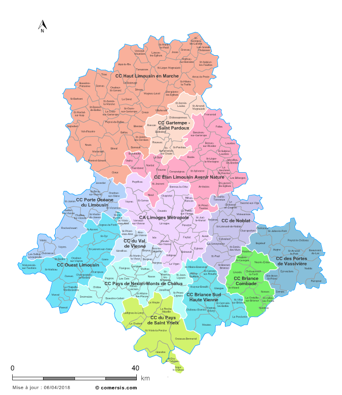 Communaut�s de communes de la Haute-Vienne