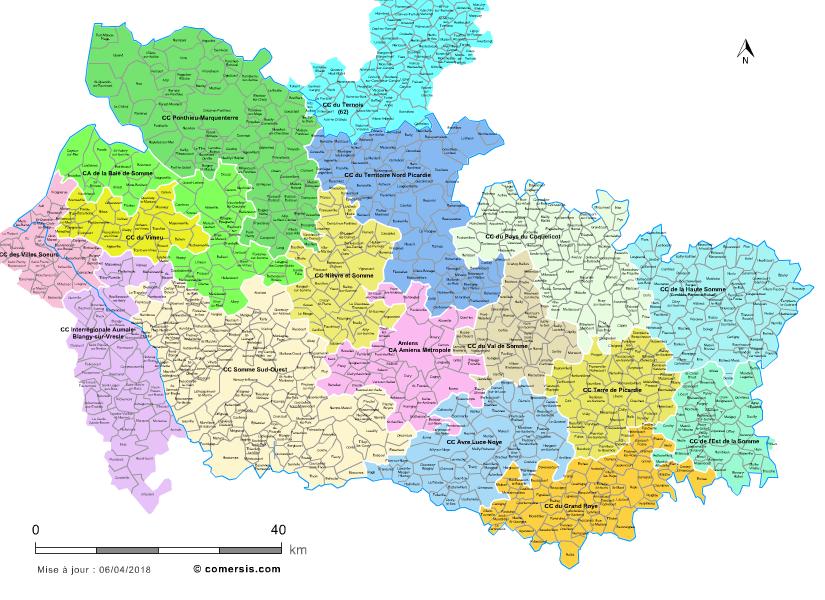 Carte des intercommunalités de la Somme avec communes