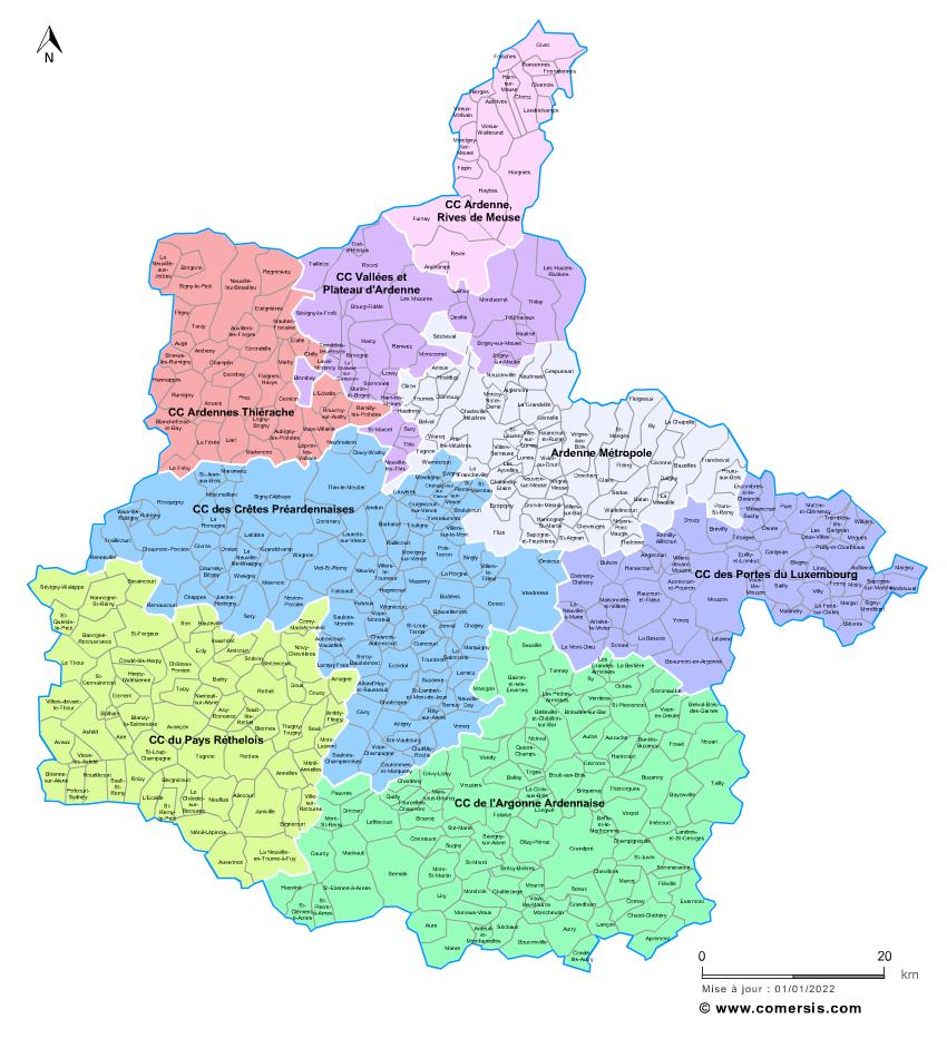 carte des intercommunalit s des ardennes avec communes