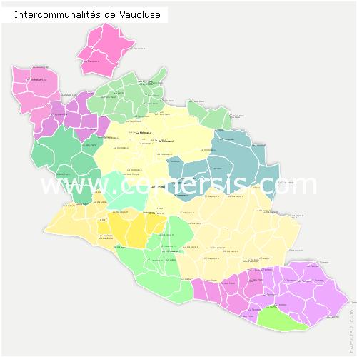 Carte et liste des intercommunalit s du vaucluse for Code postal vaucluse