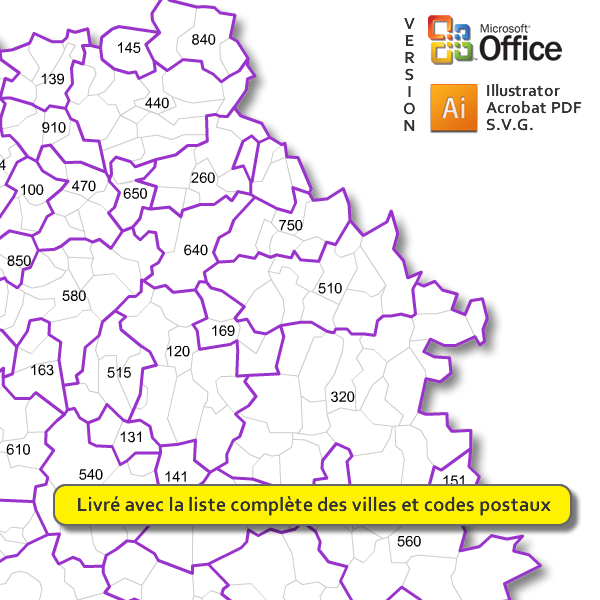 Carte des codes postaux d'Occitanie