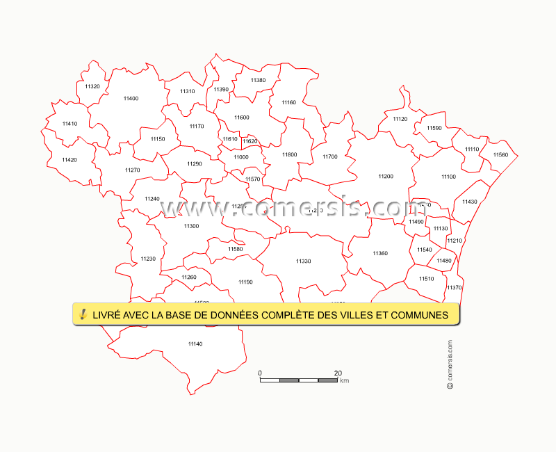 Carte des codes postaux de l 39 aude for Code postal boulay moselle
