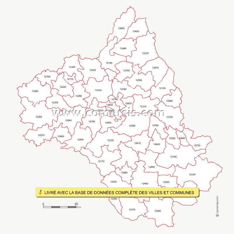 Codes postaux de l'Aveyron