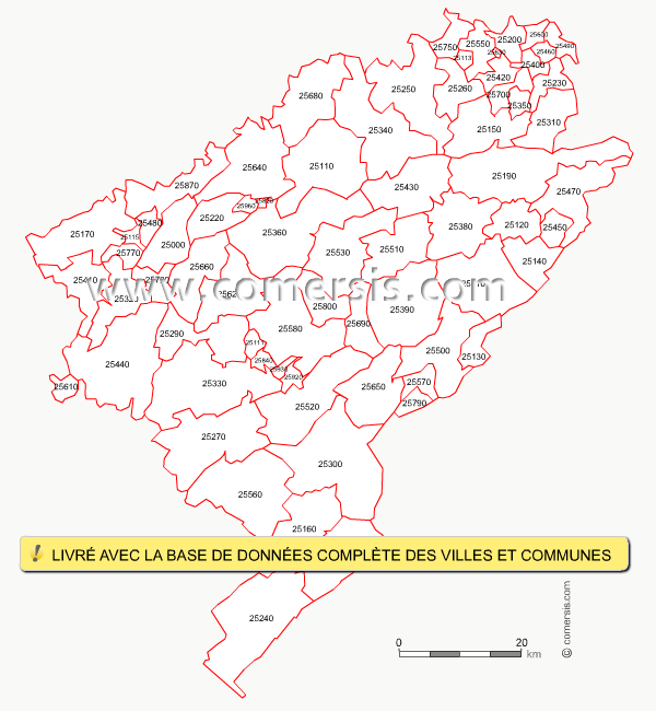 carte des codes postaux du doubs