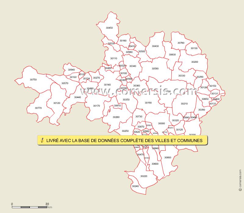 carte des codes postaux du gard